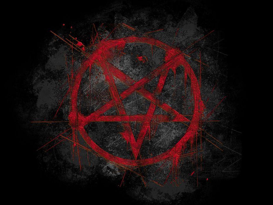 black red pentagram wallpaper