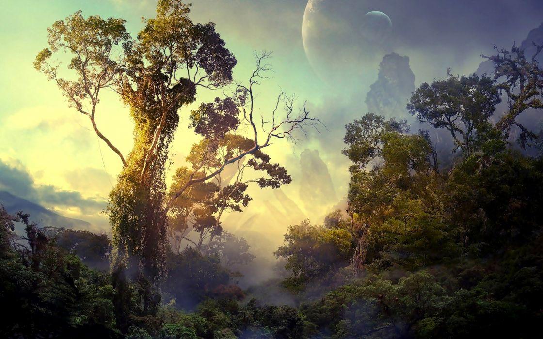 landscapes planets rainforest wallpaper