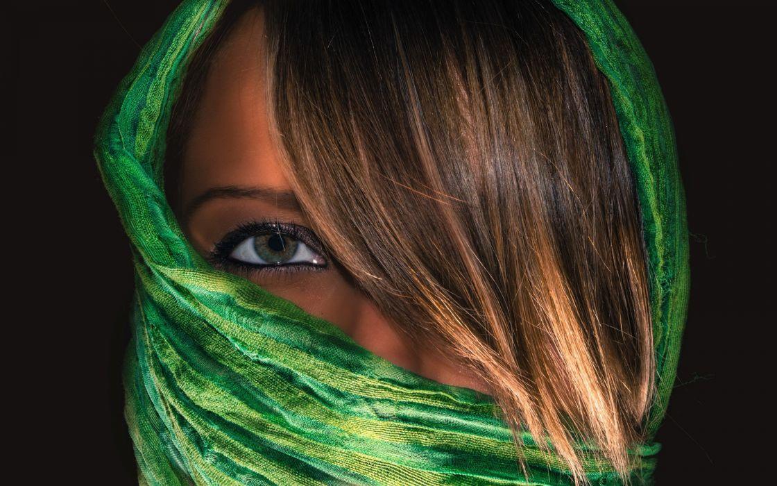 brunettes women eyes models scarfs faces wallpaper