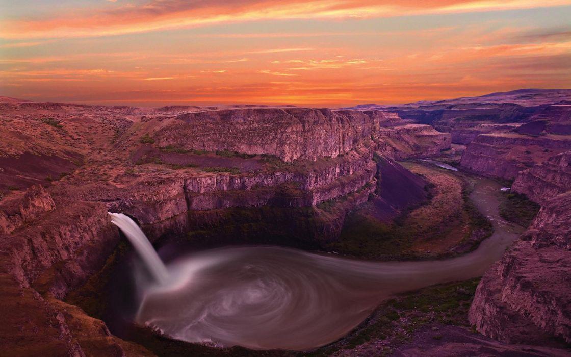 nature canyon waterfalls wallpaper