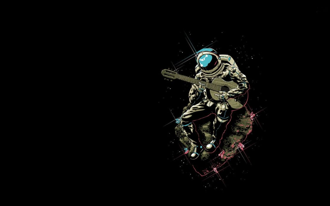 cartoons rocks sparkles astronauts guitars sitting black background wallpaper