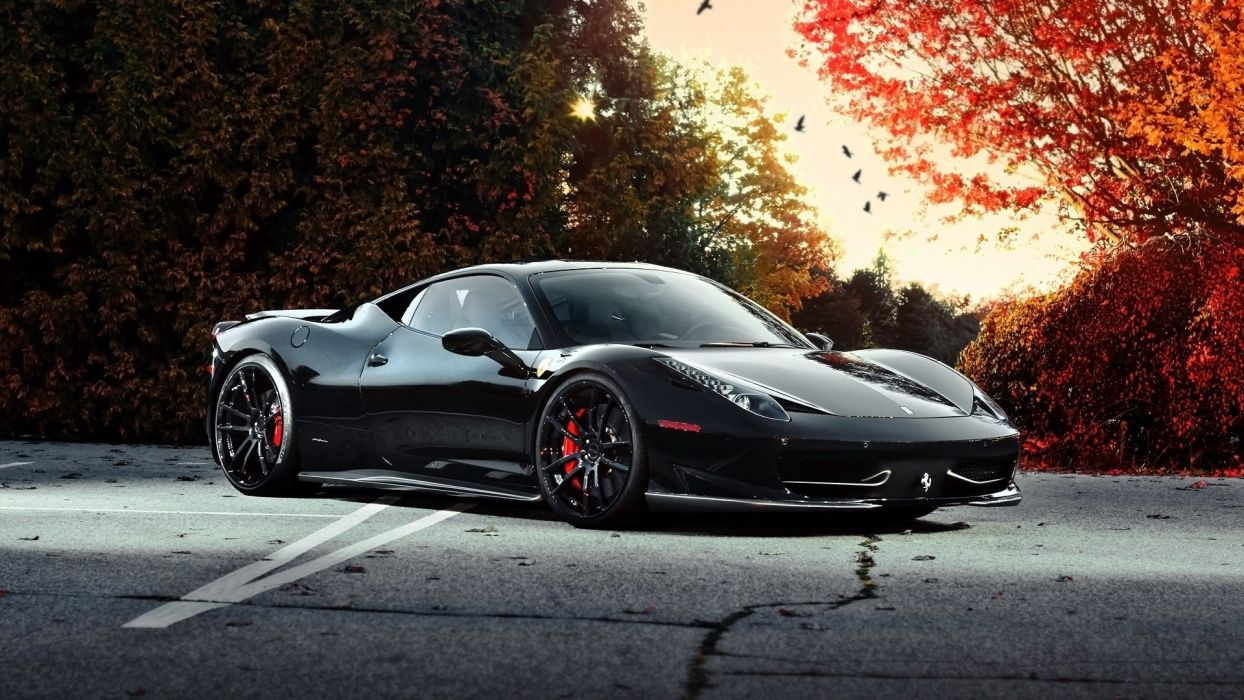 trees cars roads Ferrari 458 Italia tuning rims tuned black cars wallpaper