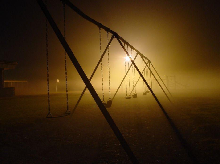 dark night silhouettes urban swings playground wallpaper