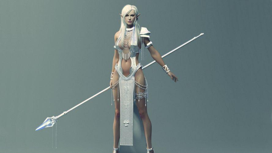 women CGI lance elves bracelets spears pointy ears silver hair wallpaper