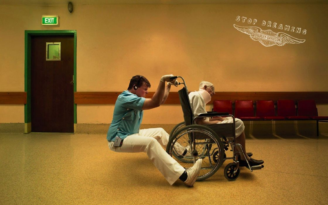 funny wheelchair Dreaming wallpaper