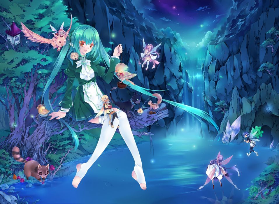 water nature wings animals long hair fairies thigh highs aqua hair anime girls wallpaper