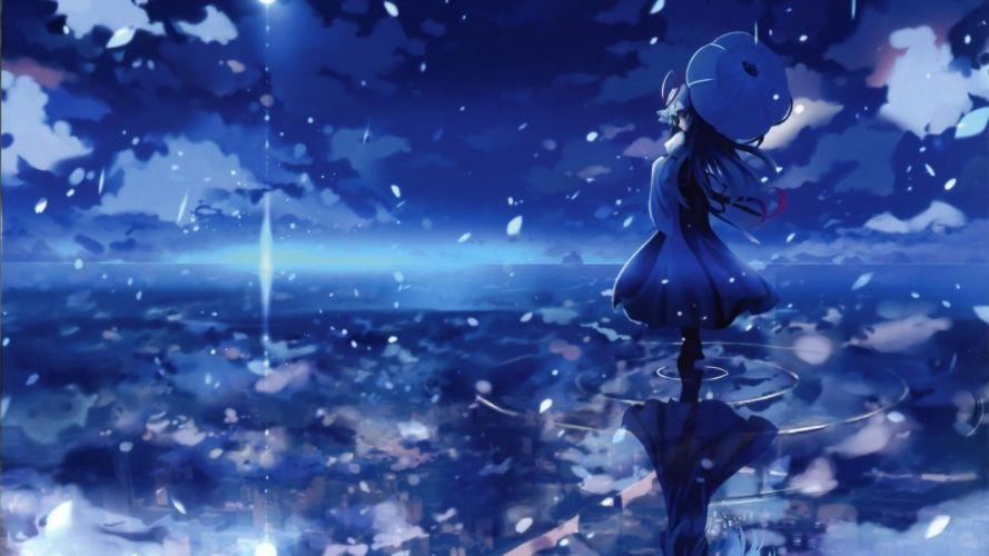 women water blue Touhou Yakumo Yukari umbrellas skyscapes reflections anime girls games Shino (Eefy) wallpaper