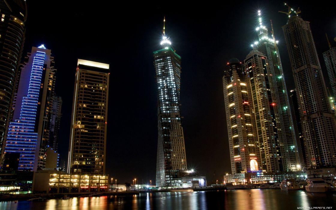 cityscapes night Dubai wallpaper