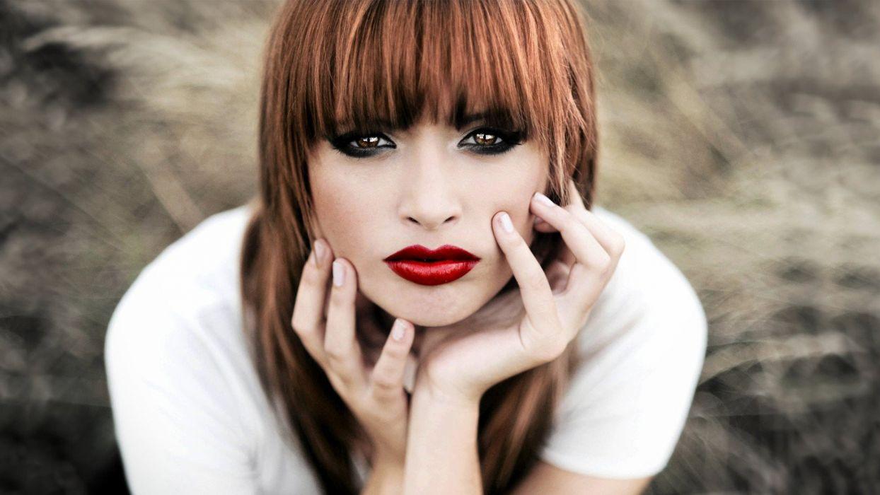 women eyes redheads models lips wallpaper