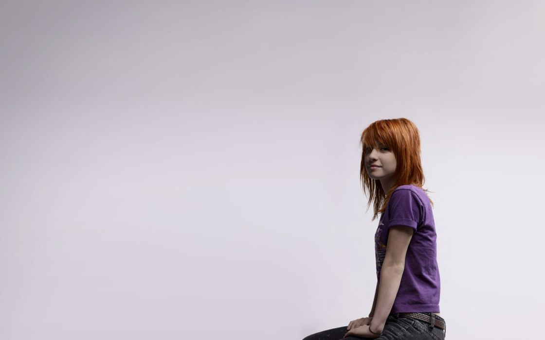 Hayley Williams music redheads celebrity singers white background wallpaper
