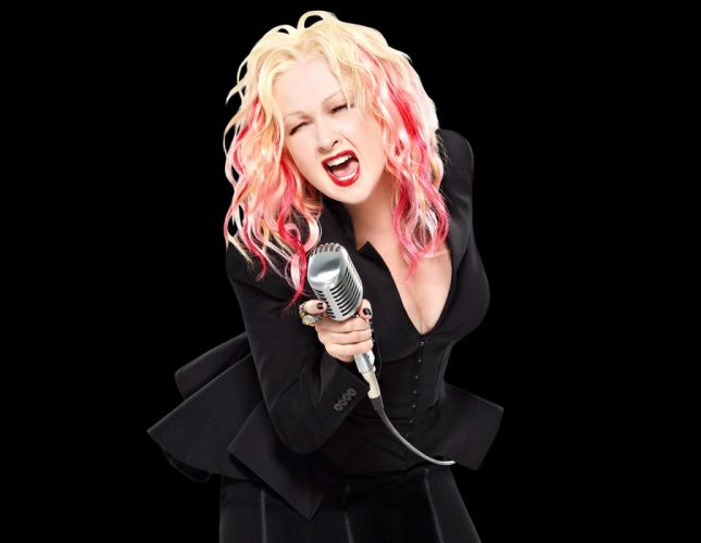 CYNDI LAUPER pop dance new wave glam concert microphone wallpaper