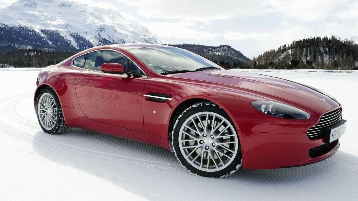 snow cars Aston Martin wallpaper
