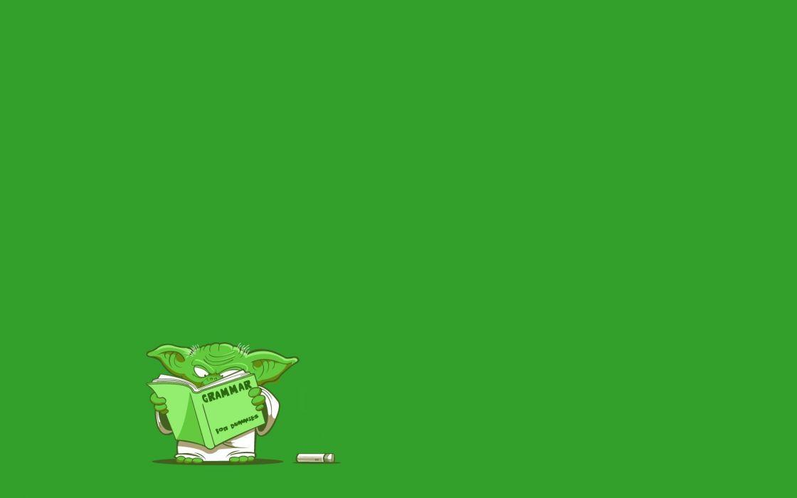 Star Wars artwork Yoda simple background green background wallpaper