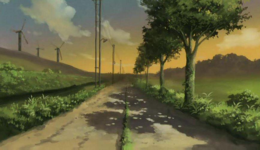 Haibane Renmei trees roads windmills wallpaper