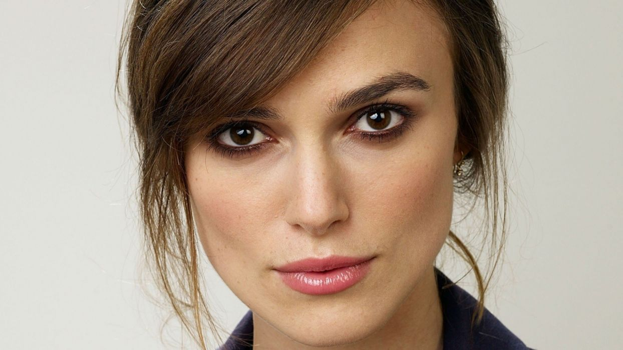 brunettes women actress Keira Knightley faces wallpaper