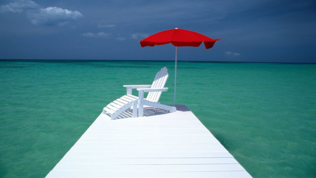water umbrellas Aruba wallpaper