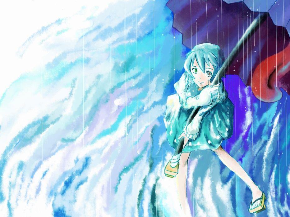 women Touhou blue hair tongue short hair umbrellas Tatara Kogasa wallpaper