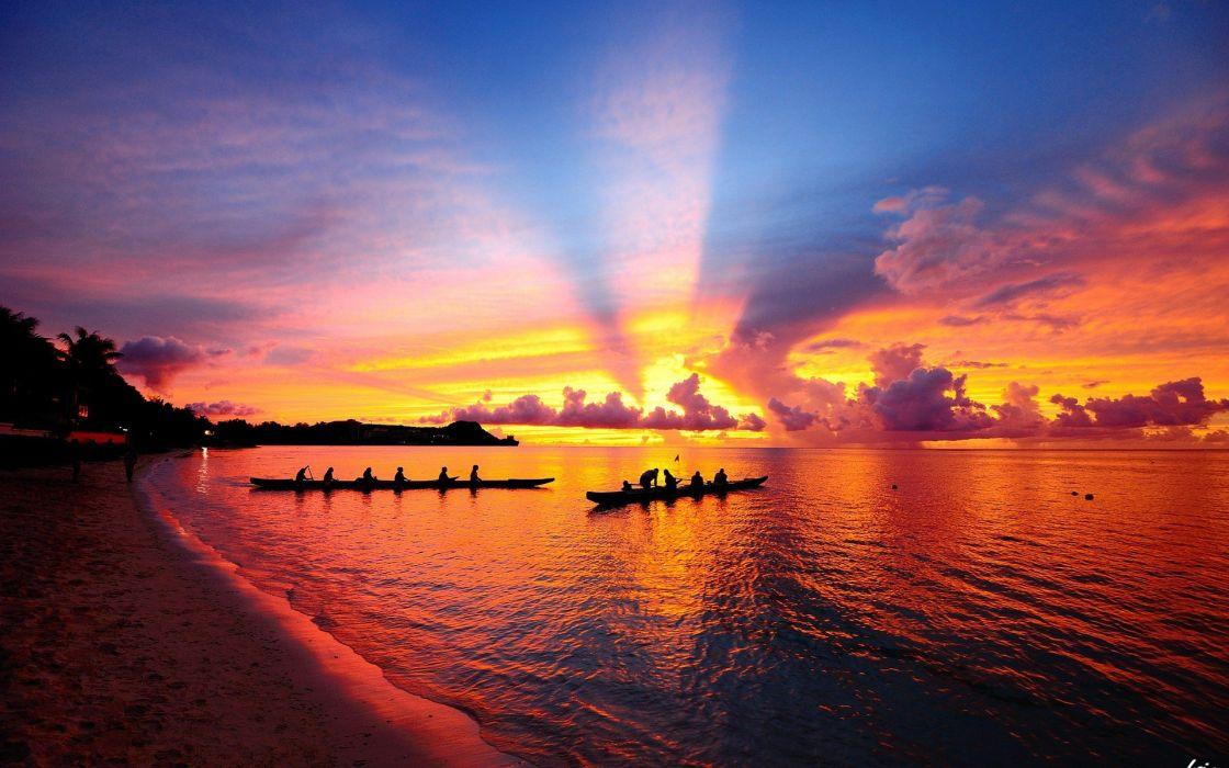 sunset boats landspeeder beaches wallpaper