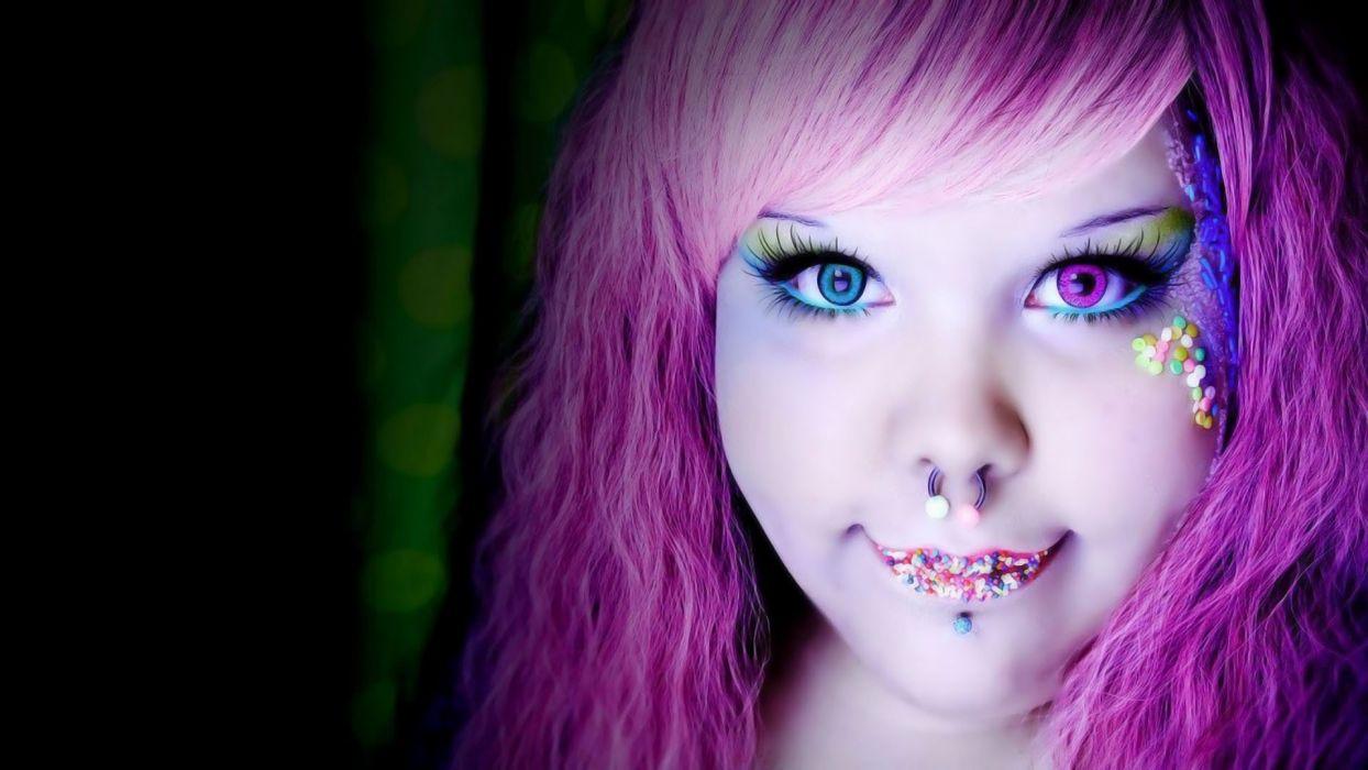 women purple hair piercings pigs faces wallpaper