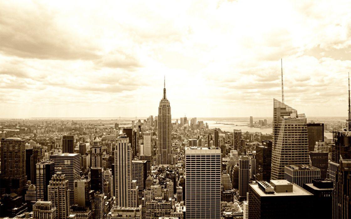 cityscapes dawn New York City wallpaper