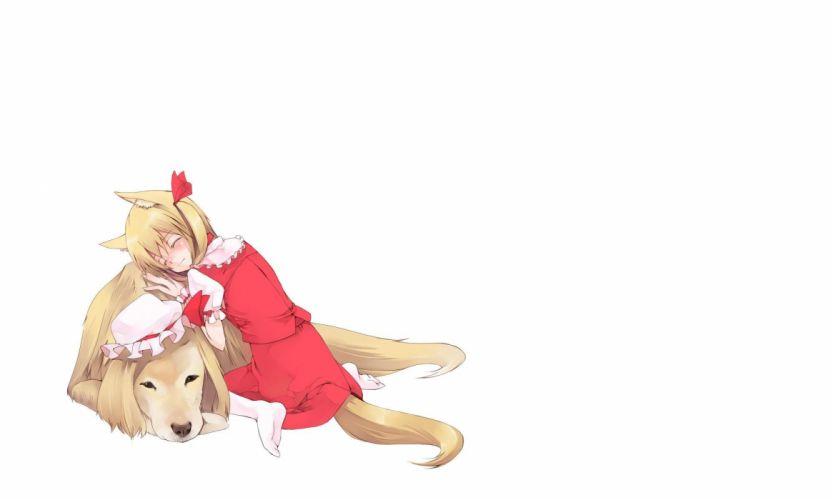 blondes video games Touhou dogs animal ears Flandre Scarlet hats simple background wallpaper