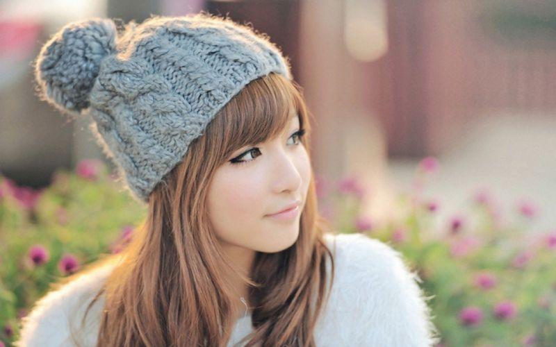 brunettes women models long hair brown eyes Asians Korean wool beanies wallpaper