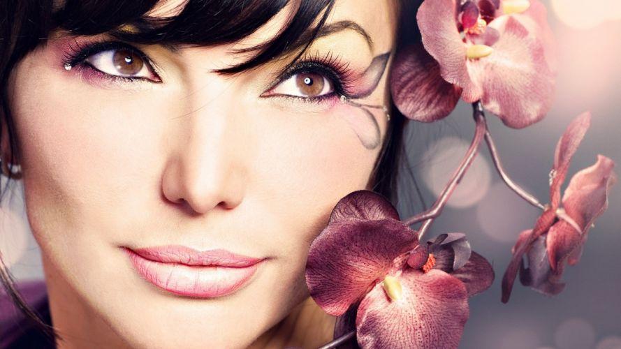 brunettes blondes women close-up eyes flowers models lips portraits wallpaper