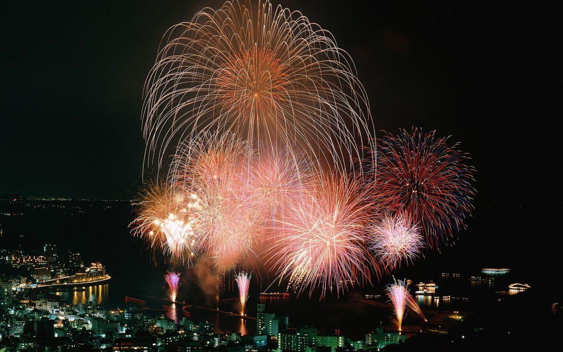 fireworks cities wallpaper