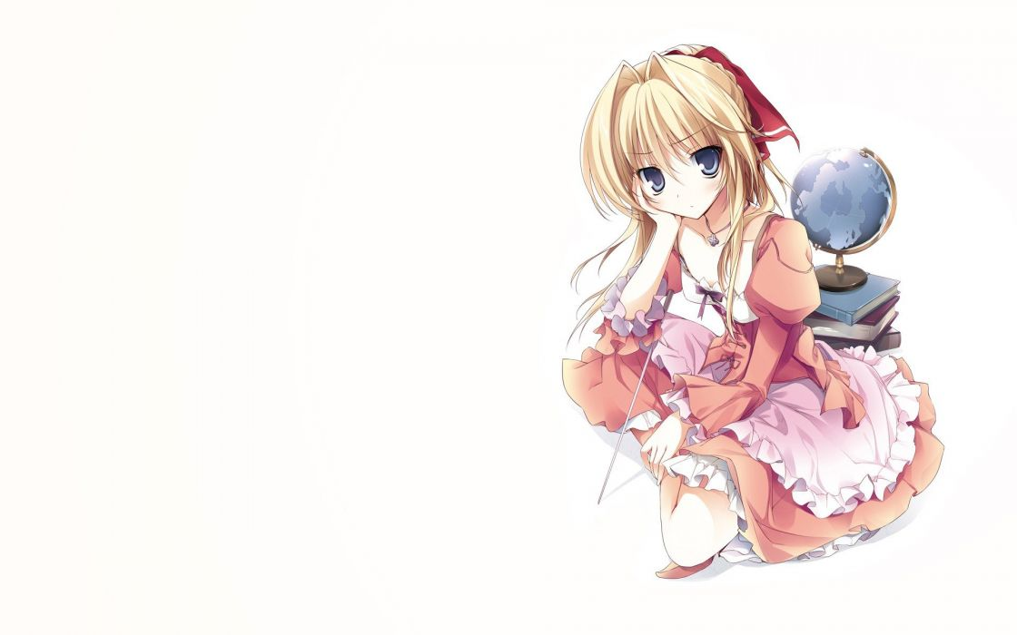 blondes dress blue eyes long hair ribbons hair ribbons simple background anime girls white background hair ornaments globe wallpaper