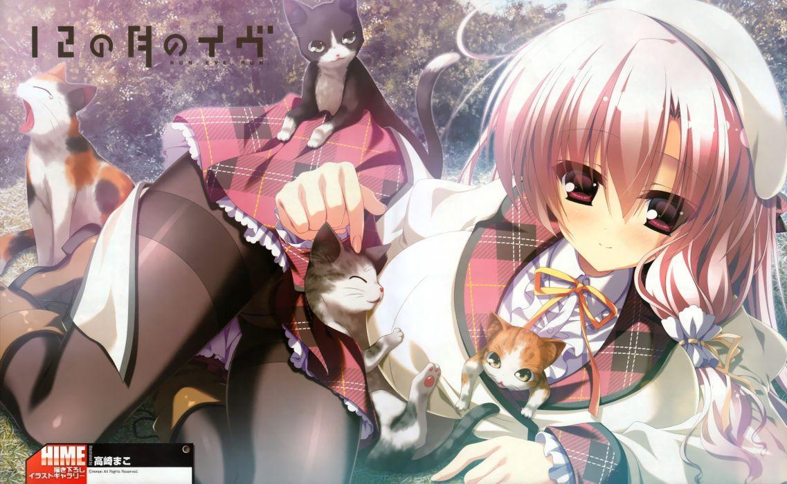 cats pantyhose visual novels Minori anime girls maco 12 no Tsuki no Eve wallpaper
