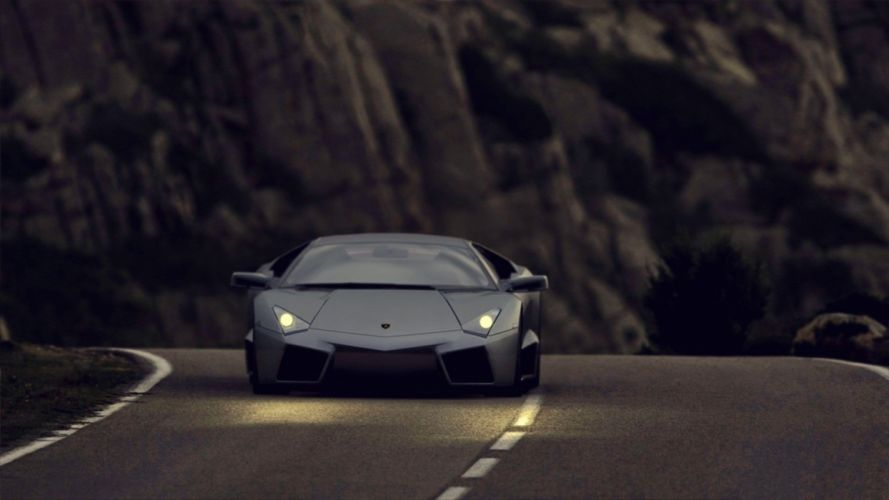 cars hills Lamborghini Lamborghini Reventon matte colored street wallpaper