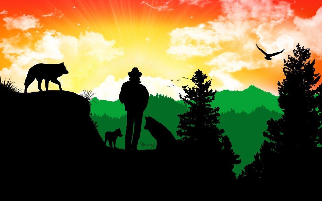 multicolor digital art artwork characters sillhouette Wolf Guy wallpaper