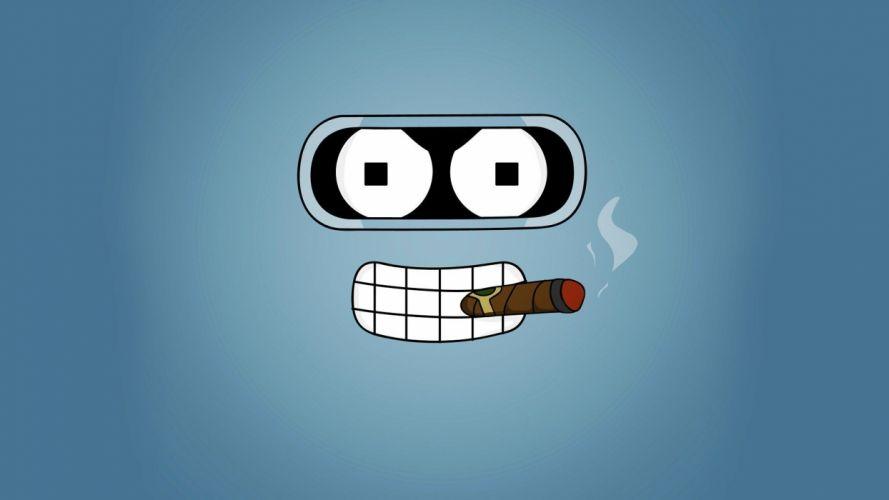 Futurama cartoons Bender smoking wallpaper