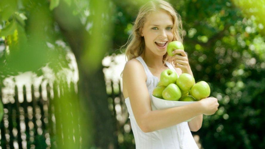 green women depth of field apples wallpaper
