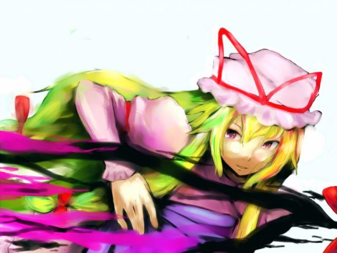 blondes video games Touhou dress long hair Yakumo Yukari bows hats anime girls tabard wallpaper
