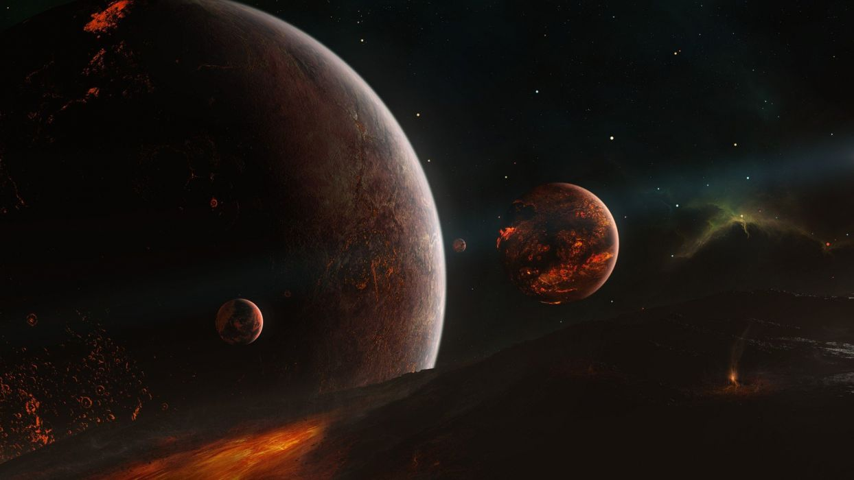 outer space stars planets nebulae asteroids Tyler Young wallpaper
