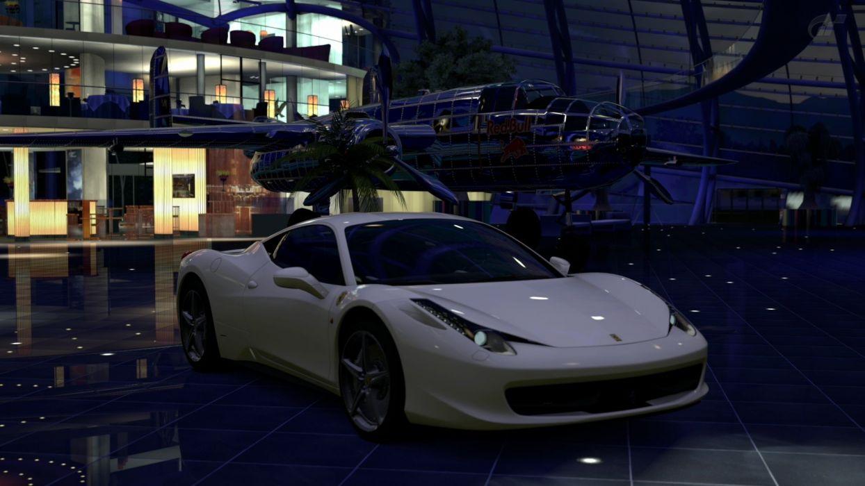 video games cars vehicles Ferrari 458 Italia Gran Turismo 5 Playstation 3 Red Bull's Hangar wallpaper