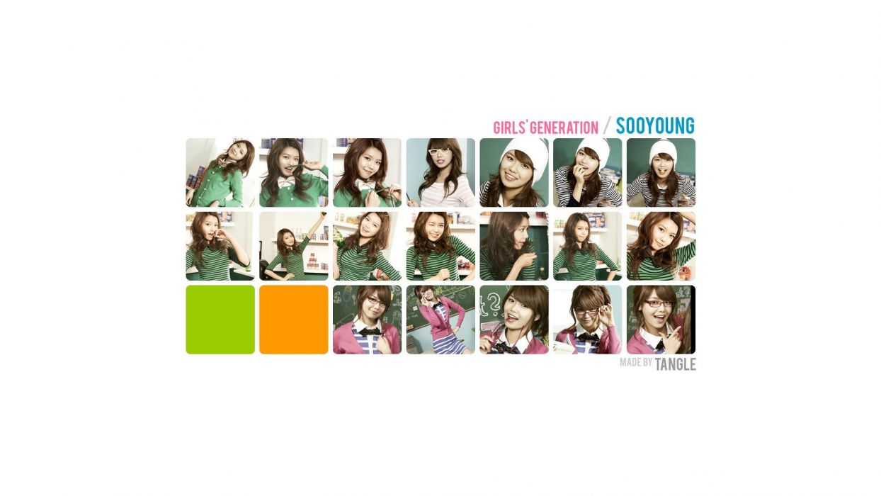 brunettes women music Girls Generation SNSD skirts glasses celebrity Asians Korean Korea singers Choi Sooyoung collage K-Pop band bowtie South Korea girls with glasses green shirt wallpaper