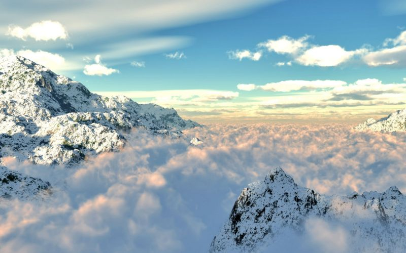 mountains clouds nature winter snow skies wallpaper