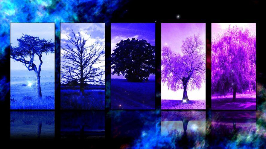 trees panels wallpaper