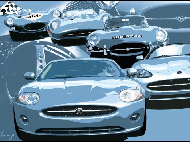 cars Jaguar artwork vehicles front view Jaguar XK British cars wallpaper