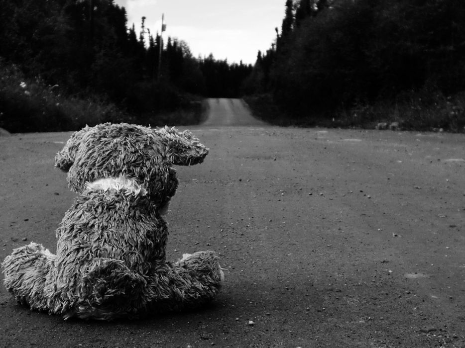 sad roads teddy bears wallpaper