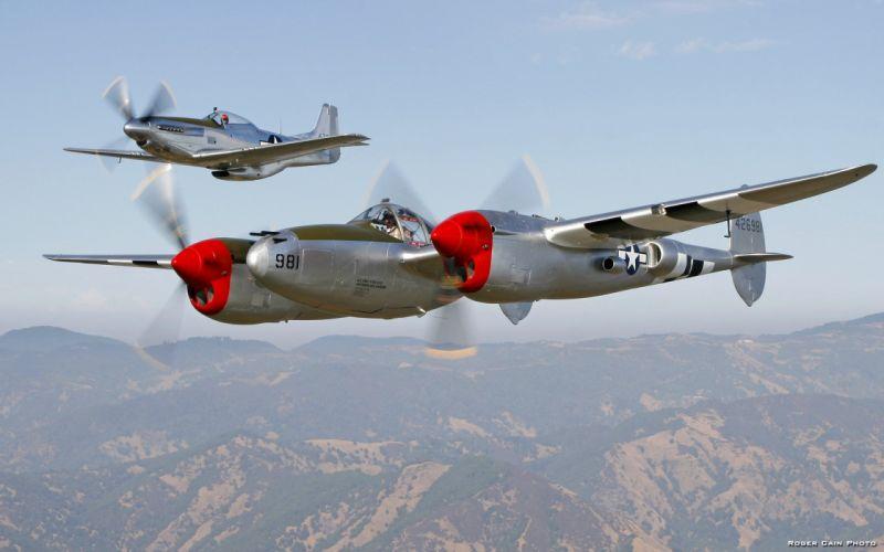 aircraft airplanes World War II P-38 Lightning P-51 Mustang wallpaper
