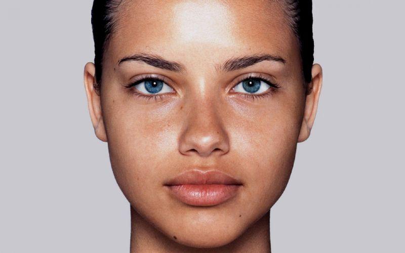 brunettes women Adriana Lima no makeup wallpaper