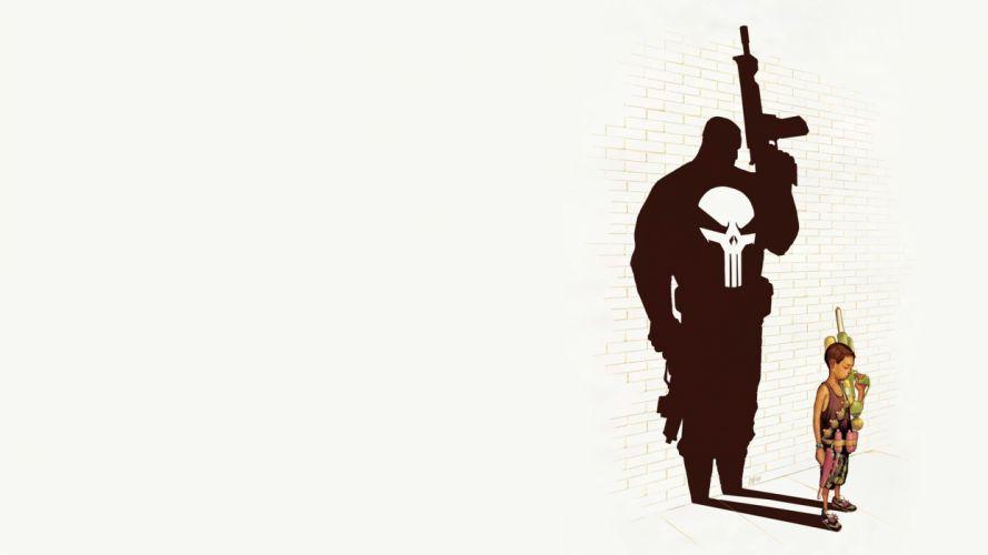guns comics shadows The Punisher white background wallpaper