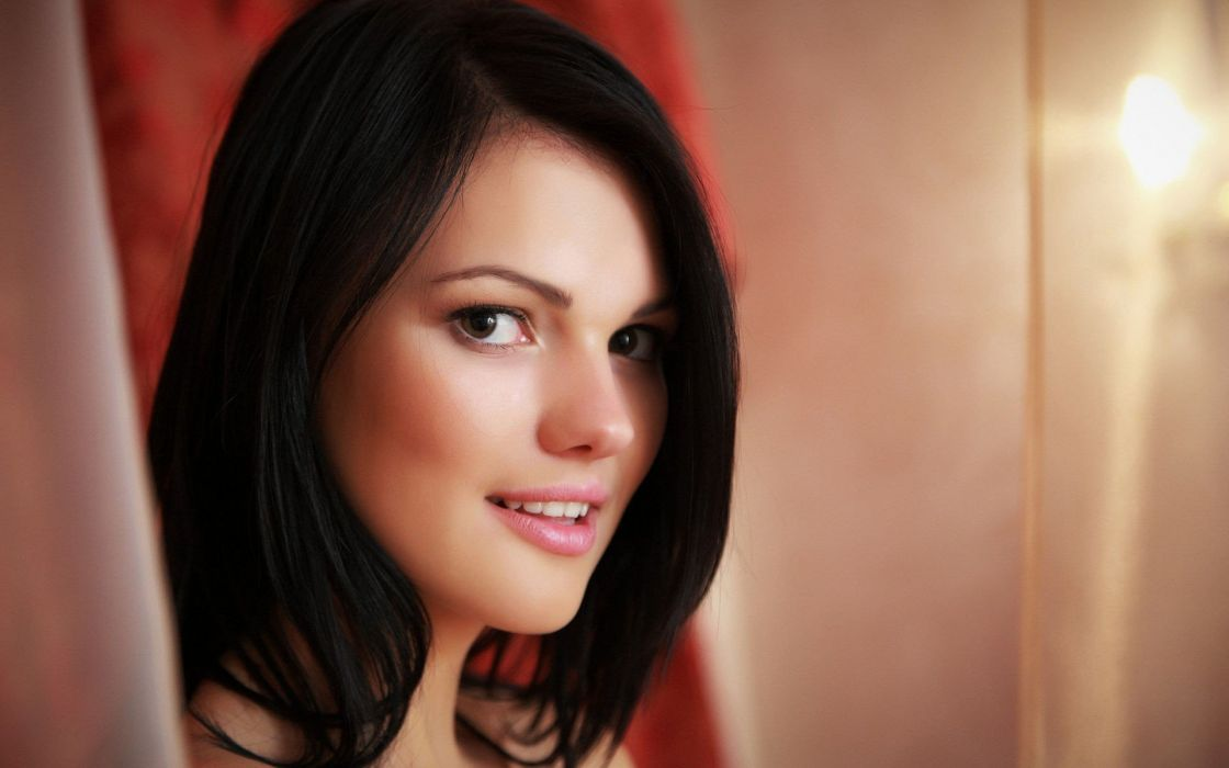 brunettes women models Met-Art magazine black eyes smiling faces Ukrainian Nichole A wallpaper
