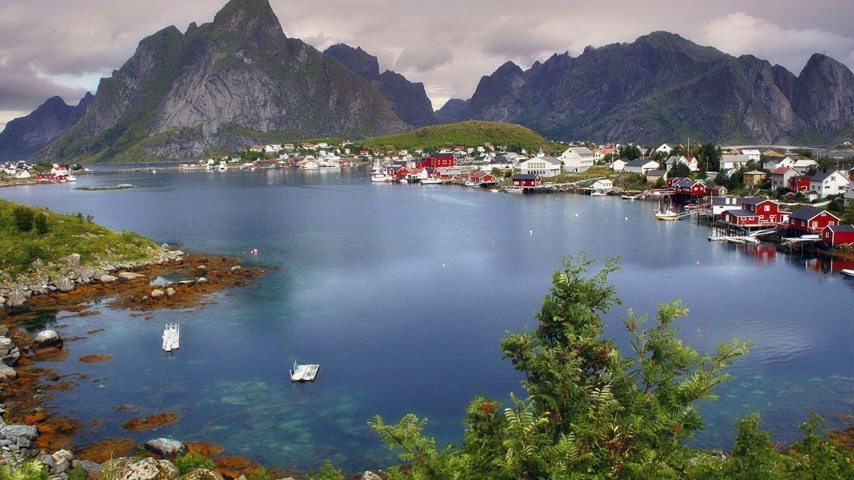 nature Norway villages Reine wallpaper
