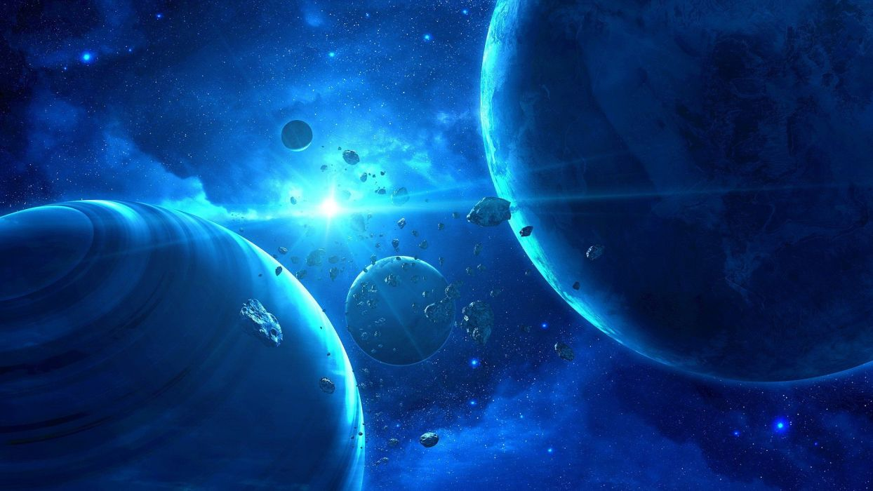 blue outer space planets asteroids QAuZ wallpaper