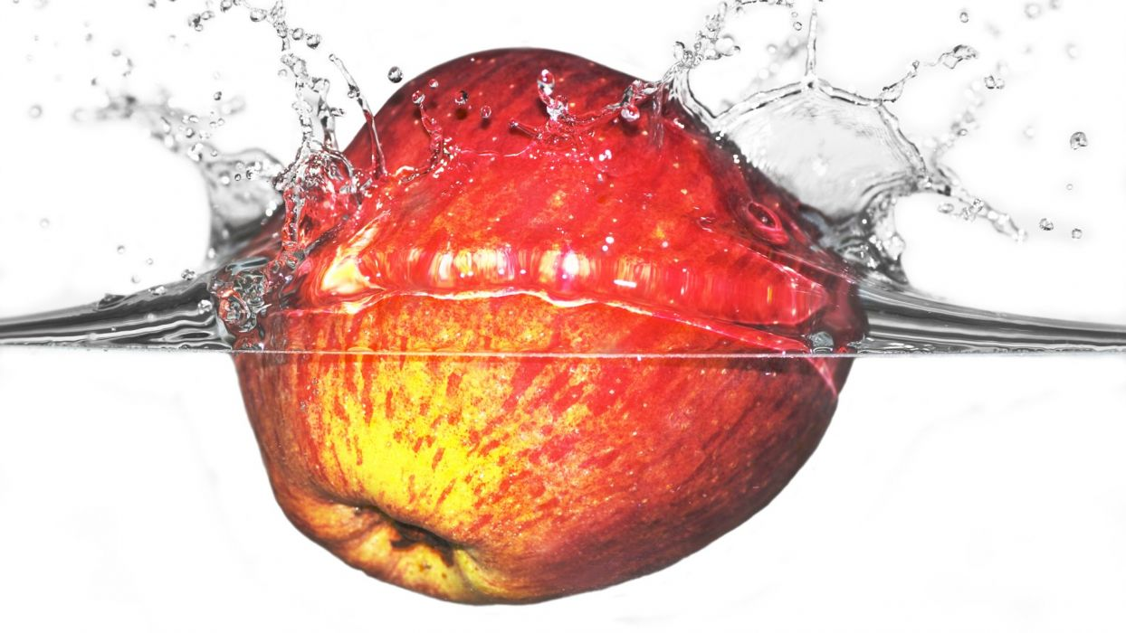 apples slow motion splashes wallpaper