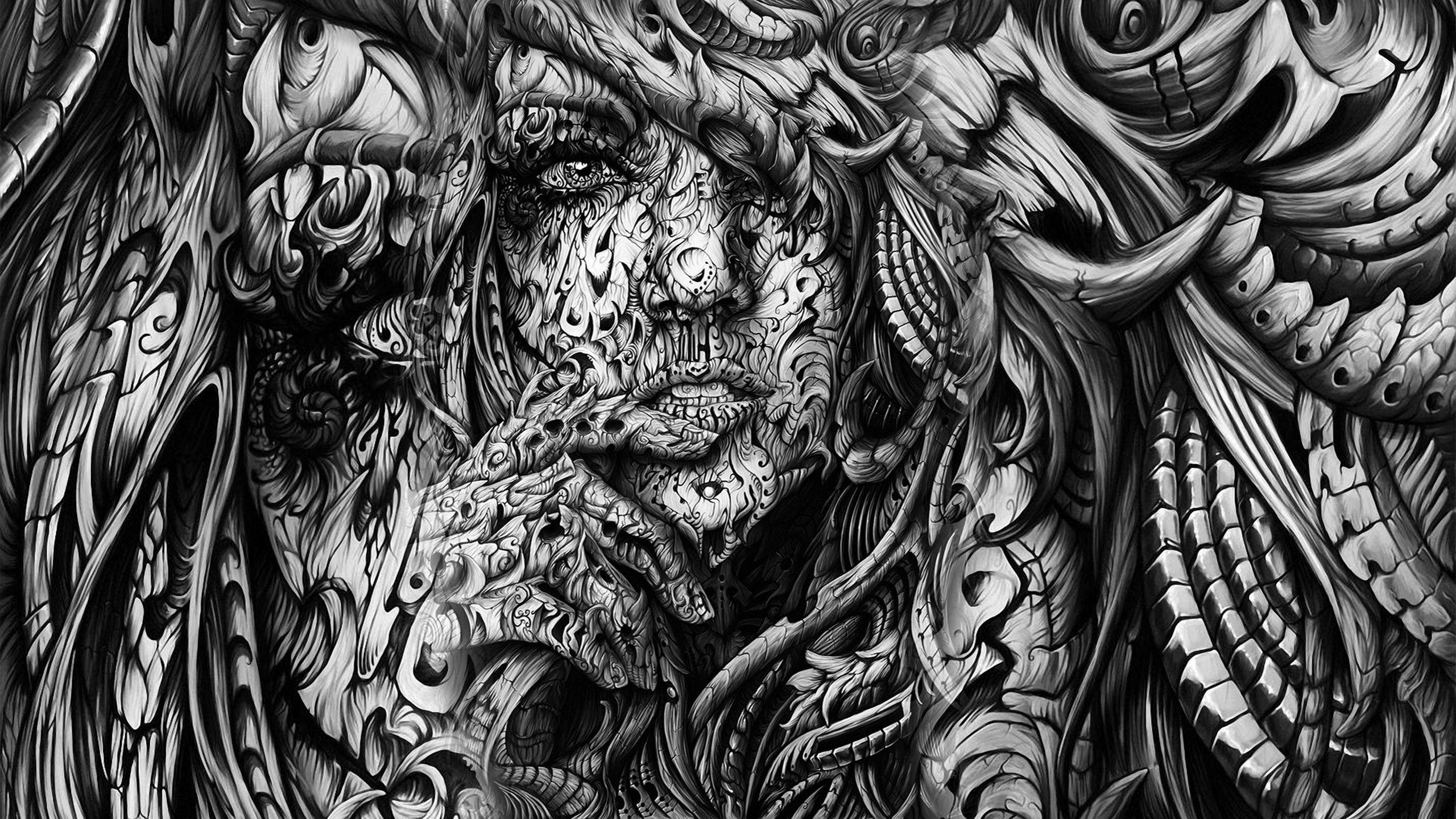 Women Monochrome Artwork Faces Wallpaper